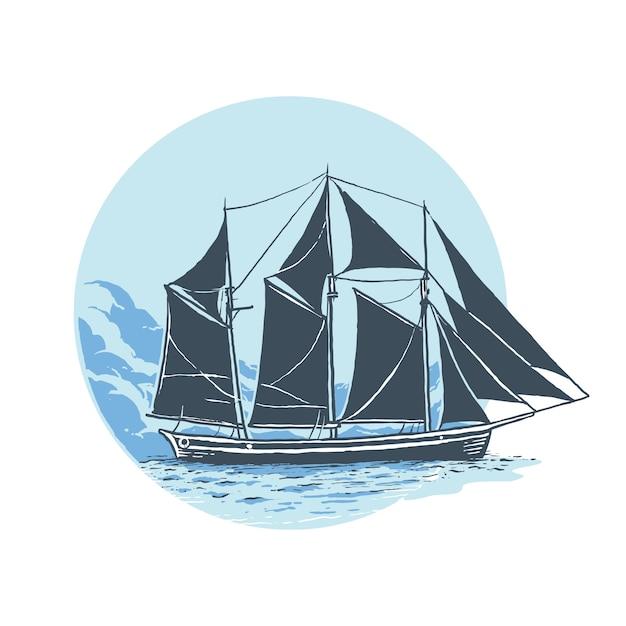 海でアンティークヨット Premiumベクター