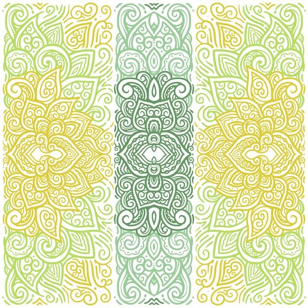 東方カラフルな曼荼羅のイラストのテンプレート Premiumベクター