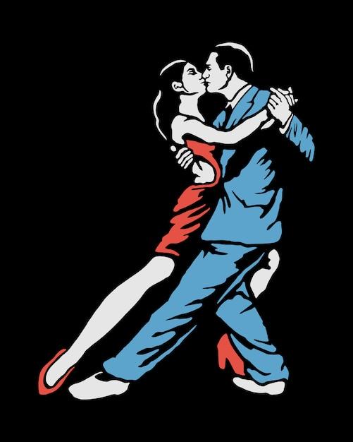 Иллюстрация танцующей пары Premium векторы