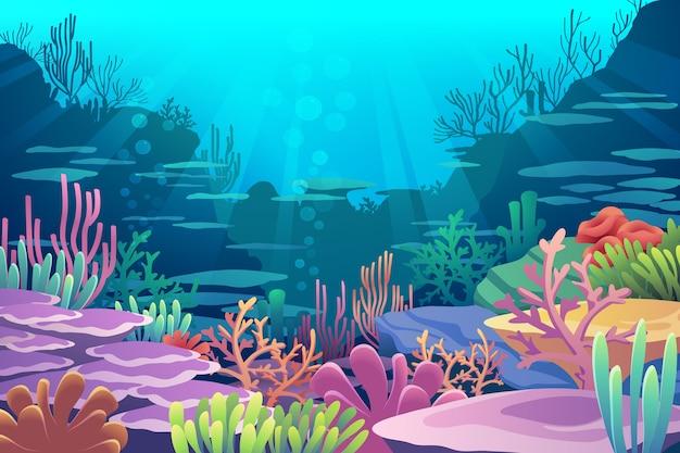 海の景色の下で Premiumベクター