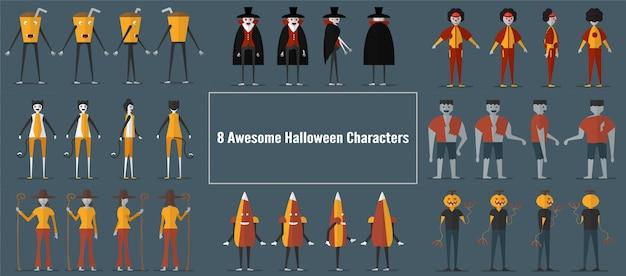 Дизайн персонажей монстров на хэллоуин Premium векторы