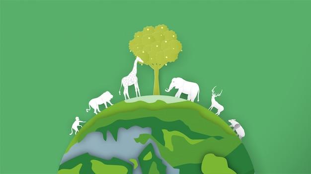 野生動物は世界中にいます。世界環境デーのためのペーパーカットとクラフトスタイルのミニマリズムデザイン。 Premiumベクター