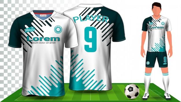 サッカージャージ、スポーツシャツ、フットボールキットのユニフォームプレゼンテーション Premiumベクター