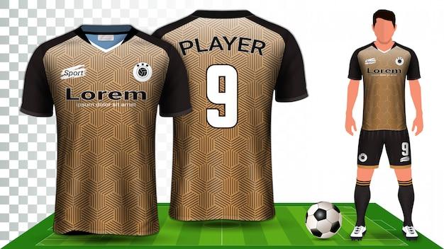 Футбол джерси, спортивная рубашка или футбольная форма. Premium векторы