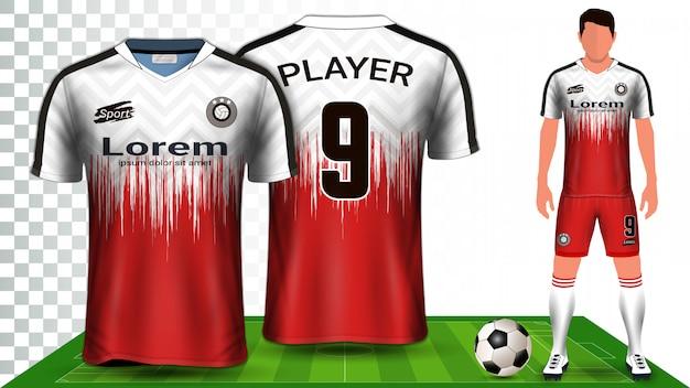サッカージャージ、スポーツシャツ、またはフットボールキットのユニフォームプレゼンテーション。 Premiumベクター