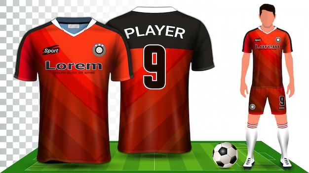 サッカージャージー、スポーツシャツ、またはフットボールキット制服プレゼンテーションテンプレート。 Premiumベクター