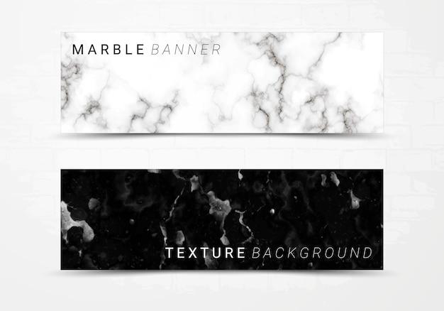 Шаблон баннера черно-белой мраморной текстуры фона. Premium векторы