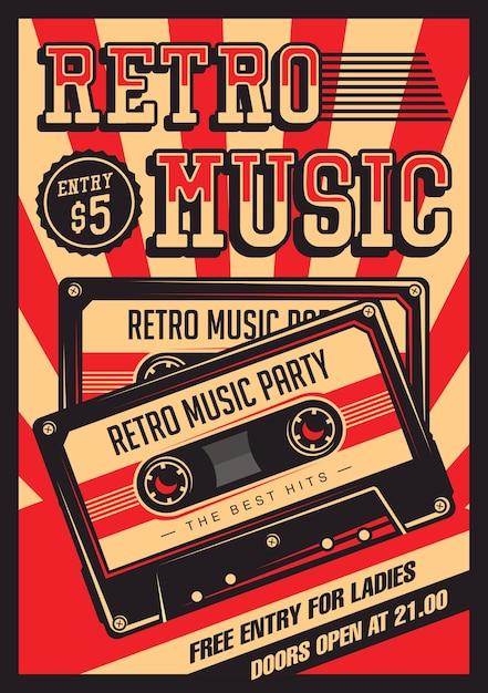 レトロ音楽コンパクトカセットヴィンテージサイネージポスター Premiumベクター