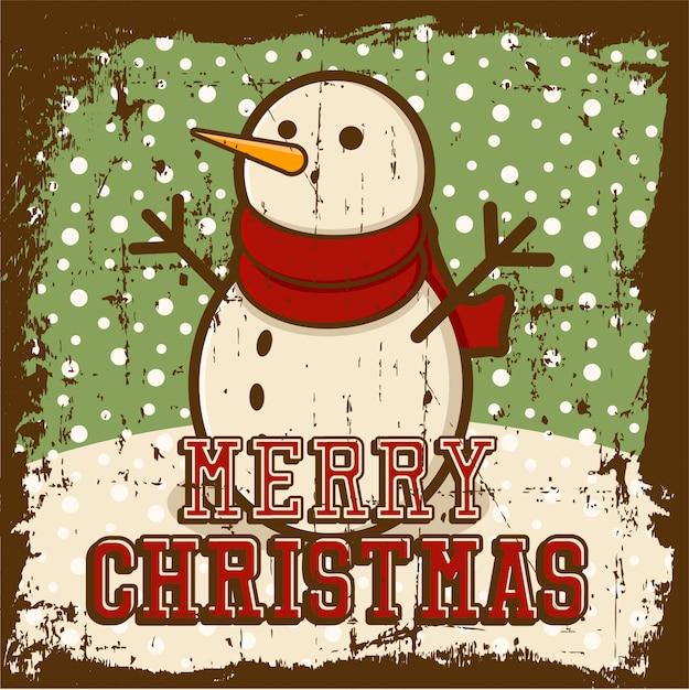 メリークリスマスビンテージポスター Premiumベクター
