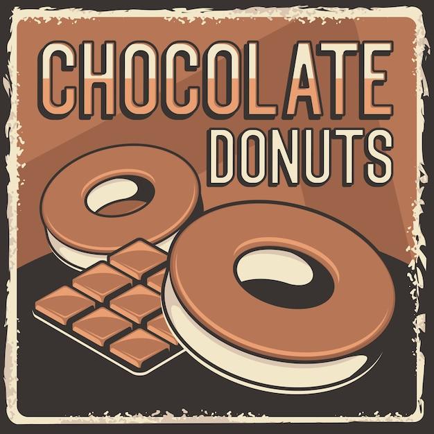 チョコレートドーナツ素朴なクラシックレトロビンテージサイネージポスター Premiumベクター