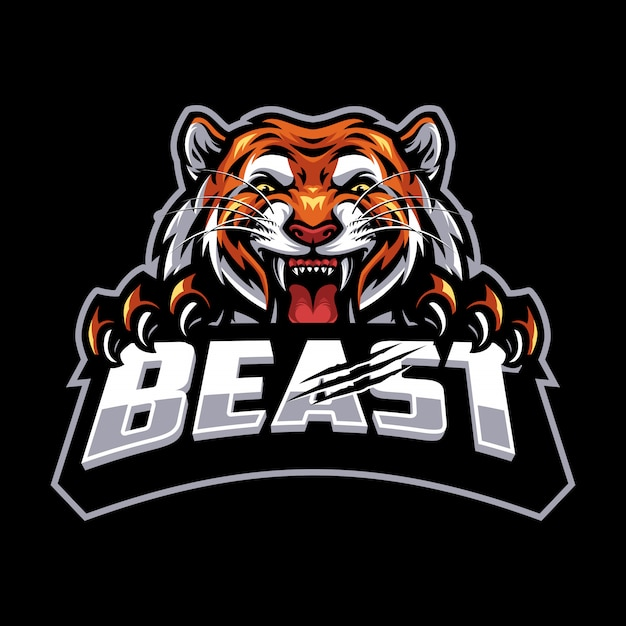 Изолированный логотип тигра для киберспорта и спортивного талисмана Premium векторы