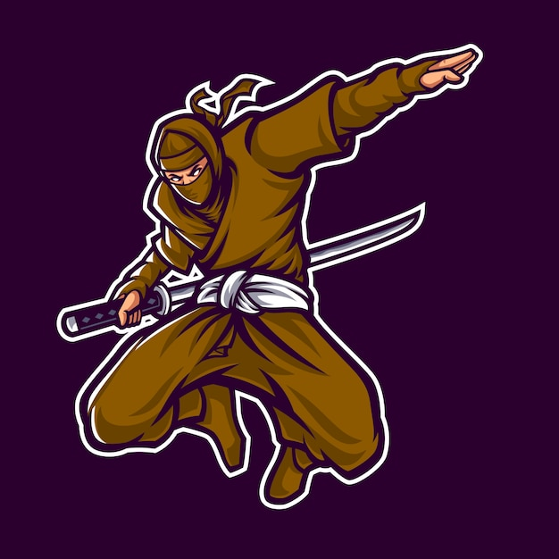 暗い背景で忍者ロゴマスコットキャラクター Premiumベクター