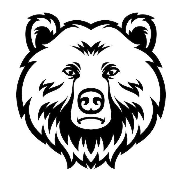 クマヘッドマスコットロゴ黒と白 Premiumベクター