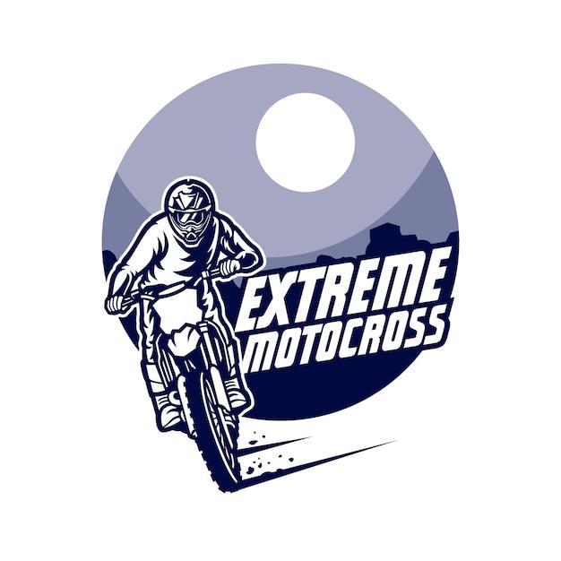 Мотокросс векторный логотип, мотокросс фристайл Premium векторы