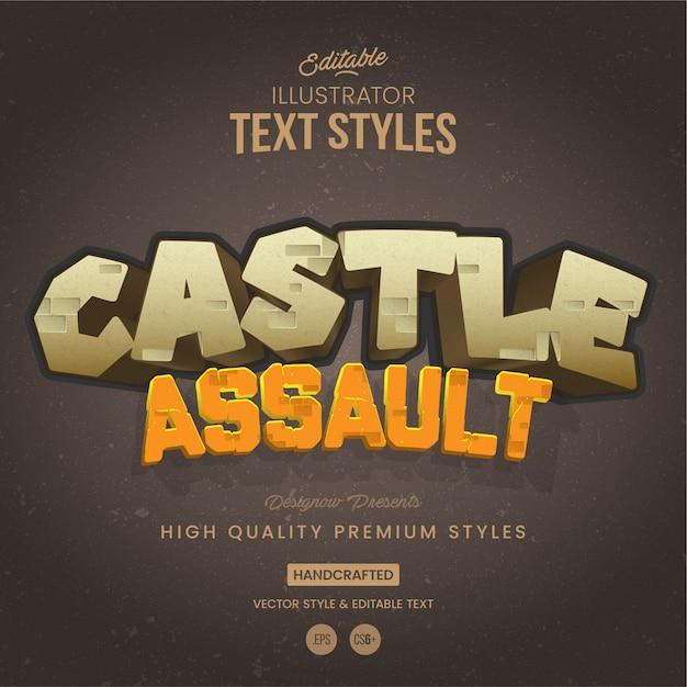 石の城のテキストスタイル Premiumベクター