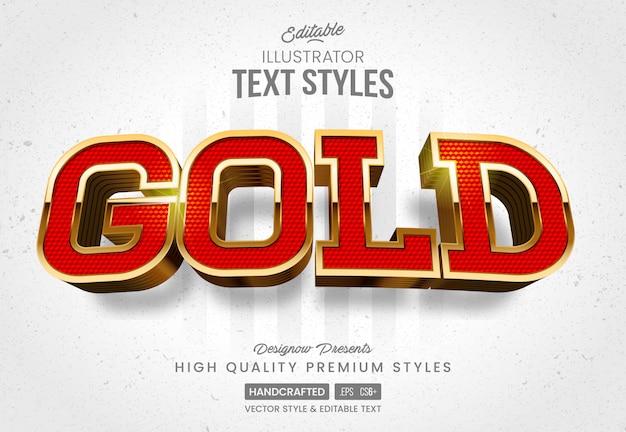 Стиль текста из красного золота Premium векторы