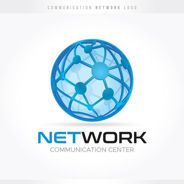 コミュニケーションとネットワークのロゴ Premiumベクター