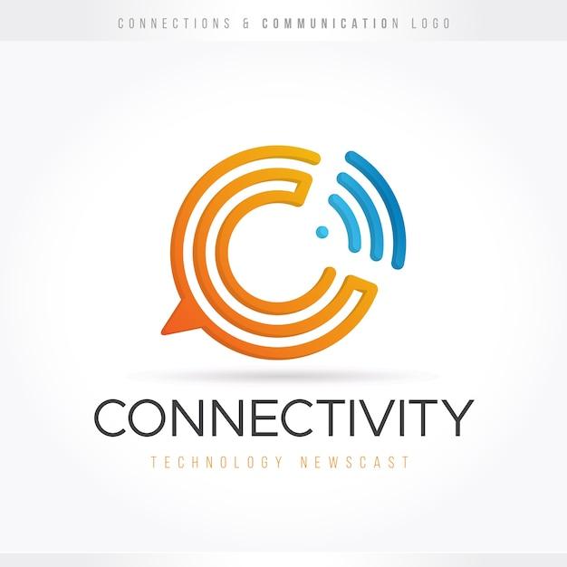 Логотип коммуникационных технологий Premium векторы