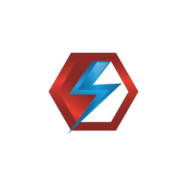 Значок молнии вектор значок в современном дизайне с цветом красный и синий Premium векторы