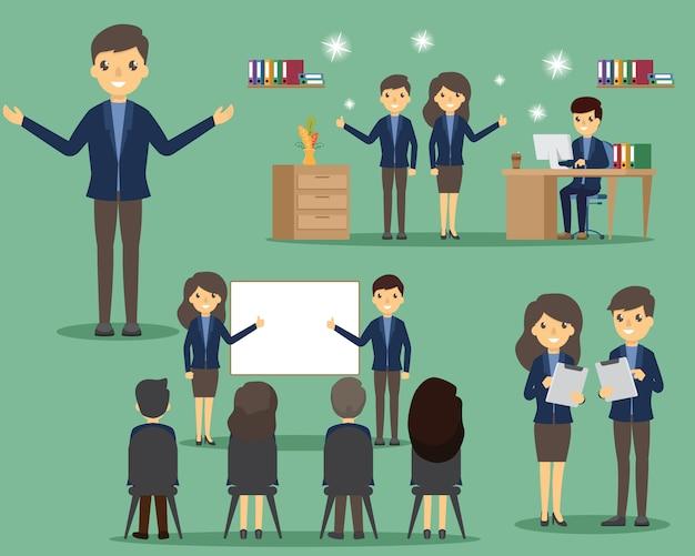 Деловые люди в офисе установлены. постановка и эмоции. бизнес в различной позе в офисе и работе. Premium векторы