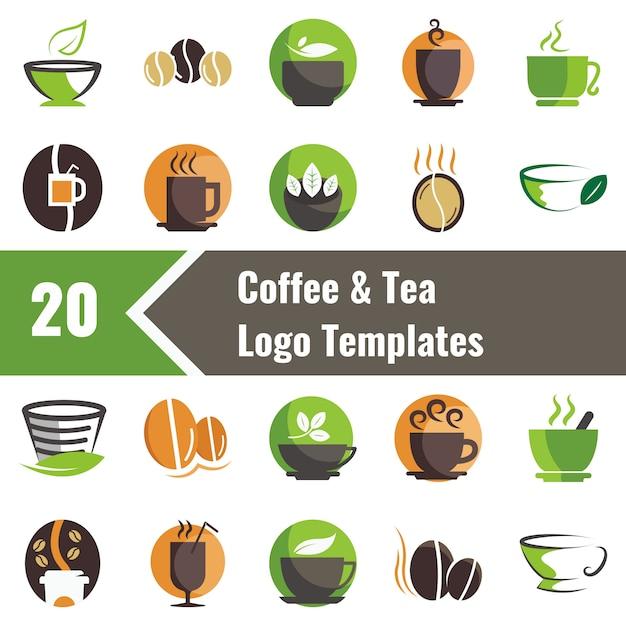 コーヒーと紅茶のロゴのテンプレート Premiumベクター