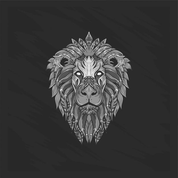 黒と白のライオンヘッドフローラル Premiumベクター