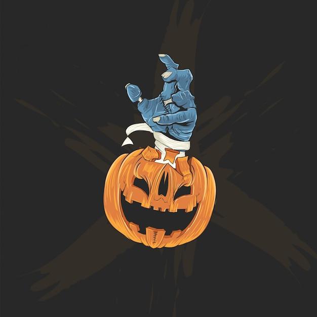 Голова тыквы и рука зомби для плаката хэллоуина, баннера и футболки Premium векторы