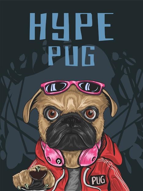 誇大広告スタイルのパグ犬は赤い甘い物、サングラス、ヘッドフォン、真剣な表情を着る Premiumベクター