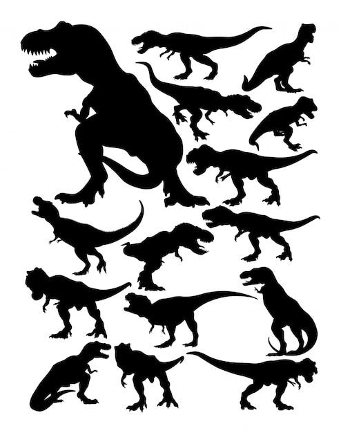 ティラノサウルスレックスのシルエット。 Premiumベクター