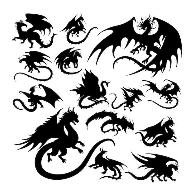 ドラゴン古代生物神話のシルエット。 Premiumベクター