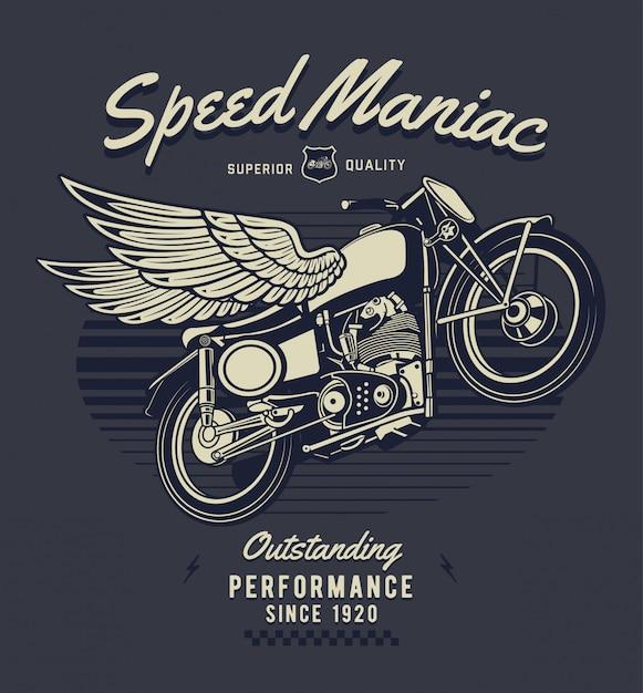 翼の図が付いているオートバイ Premiumベクター