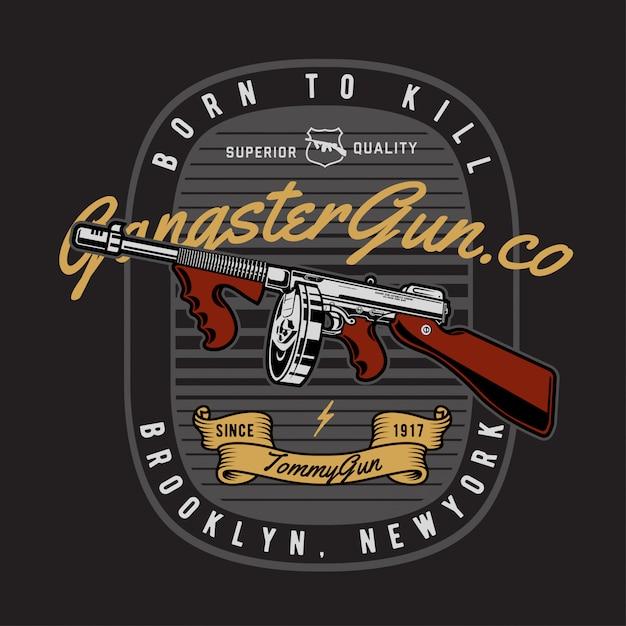 ギャングスター銃バッジ Premiumベクター