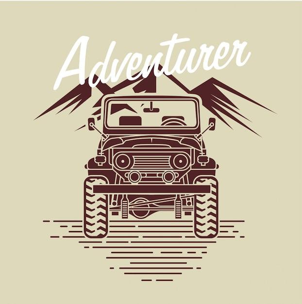 Автомобиль авантюриста перед горой Premium векторы