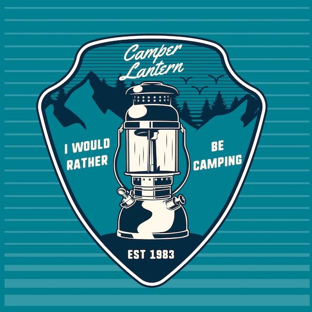 山の紋章とキャンピングカーランタン Premiumベクター