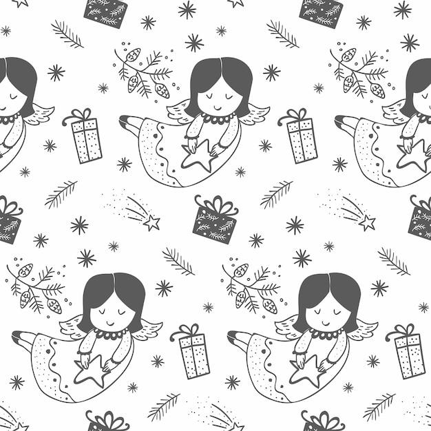 手描きのクリスマス天使のパターン Premiumベクター