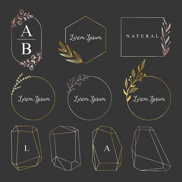 ゴールデン女性ロゴ、フレームコレクション Premiumベクター