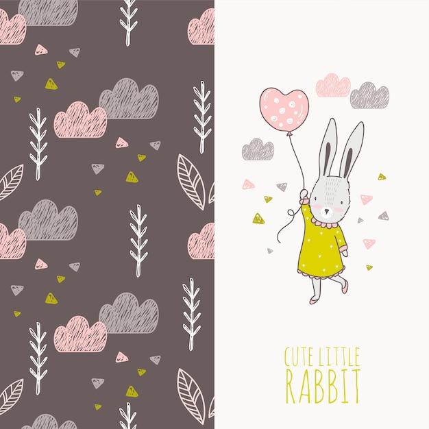 バルーンカードで手描きのウサギの女の子 Premiumベクター