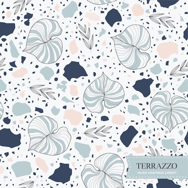テラゾシームレスパターンと手描きの葉 Premiumベクター