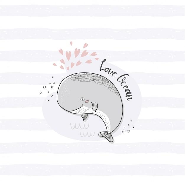 漫画のキャラクターのクジラカード。手描きの海の動物 Premiumベクター
