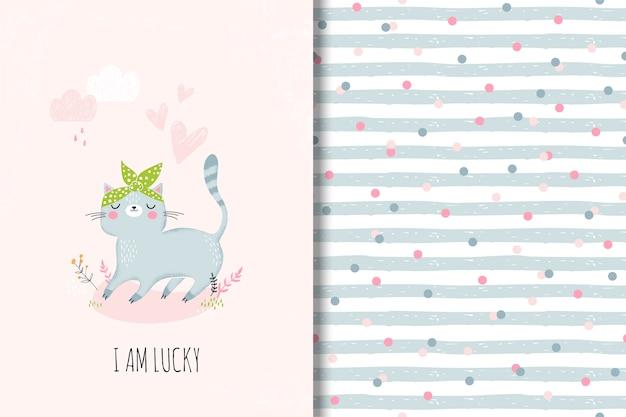 Симпатичная открытка с мультяшной кошкой и забавным бесшовным рисунком Premium векторы