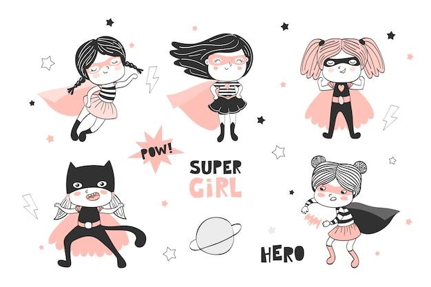 Набор рисованной супер девочек мультипликационный персонаж. коллекция каракули. Premium векторы
