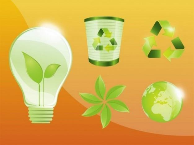 эко зеленые значки утилизации векторный набор