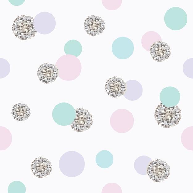 キラキラ色とりどりの水玉模様のシームレスなパターン。 Premiumベクター