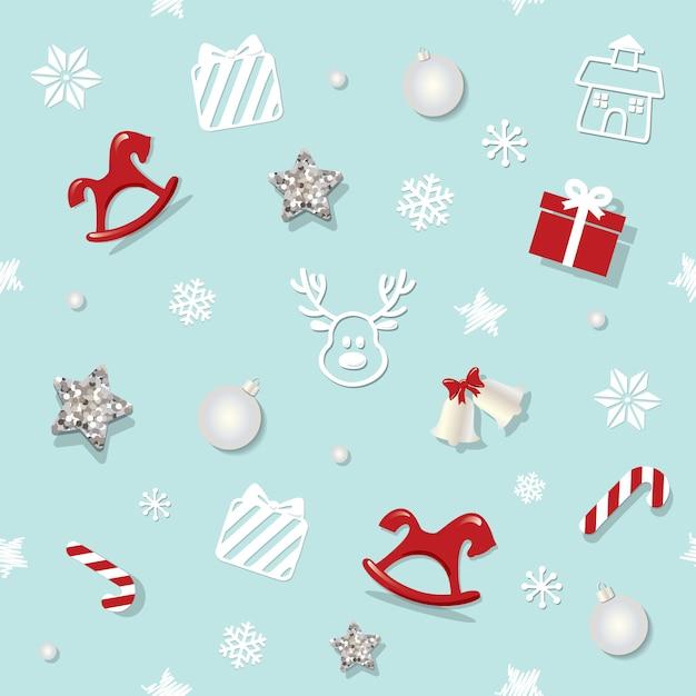 クリスマスと新年のシームレスなパターン。 Premiumベクター