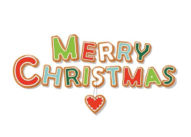 メリークリスマスジンジャーブレッドクッキー手書きの手紙 Premiumベクター