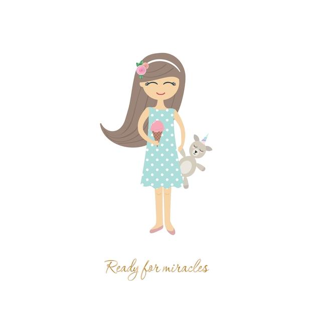 白いおもちゃユニコーンでかわいい女の子。 Premiumベクター