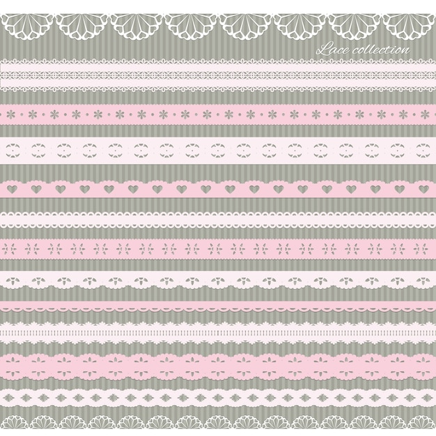 かわいいストレートレースのパステルピンクのセット Premiumベクター