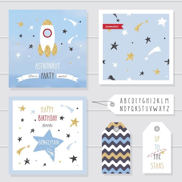 Симпатичные открытки и значки с золотым конфетти блестят для детей. Premium векторы