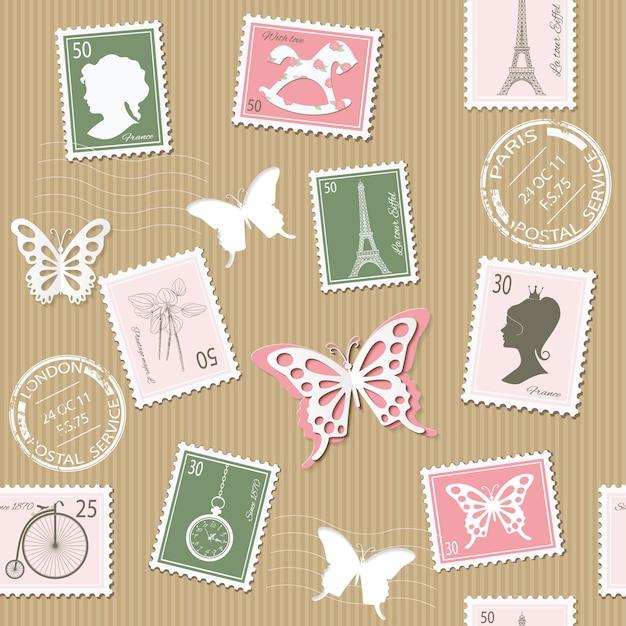 レトロな切手とビンテージ郵便シームレスパターン。 Premiumベクター