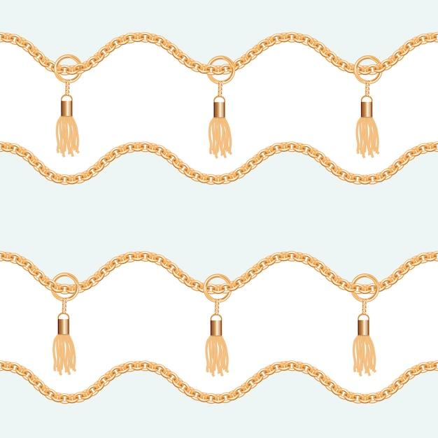 Золотые цепочки с кисточками бесшовные модели Premium векторы